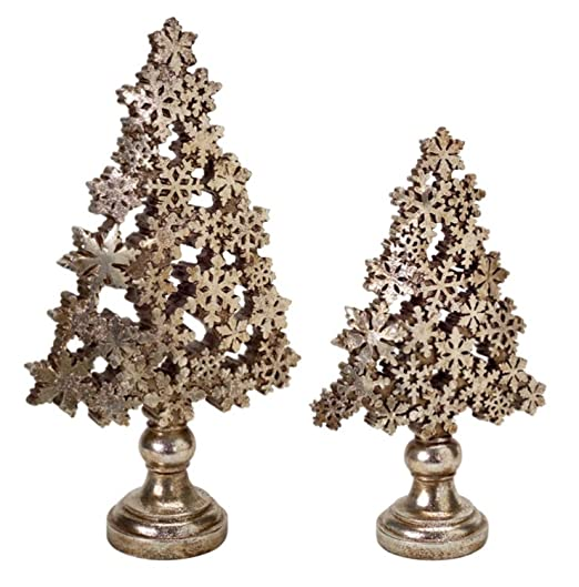 Christmas Tablescape Decor - A pair of antique brass and champagne gold snowflake christmas tree table top decorations