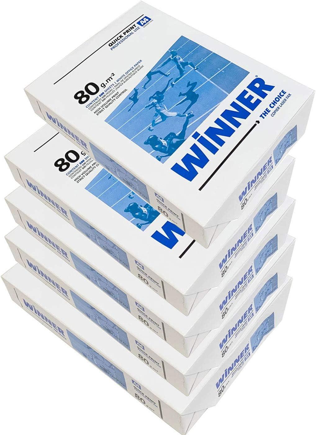 WINNER -Caja 5 Paquetes de 500 Folios 2500 Hojas de A-4 80g ...