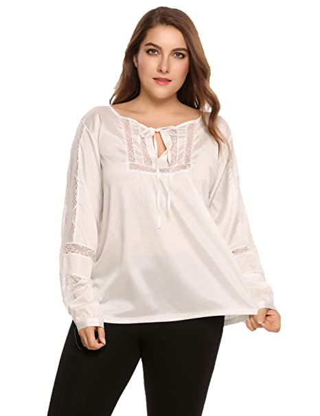 6d860ac8bf9 Women Plus Size Lace Casual Loose Stitching Chiffon Blouse Thin Long  Sleeves Tops
