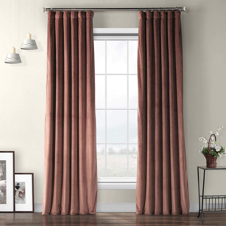 HPD HALF PRICE DRAPES VPYC-161234-96 Heritage Plush Velvet Curtain, 50 X 96, Wild Rose