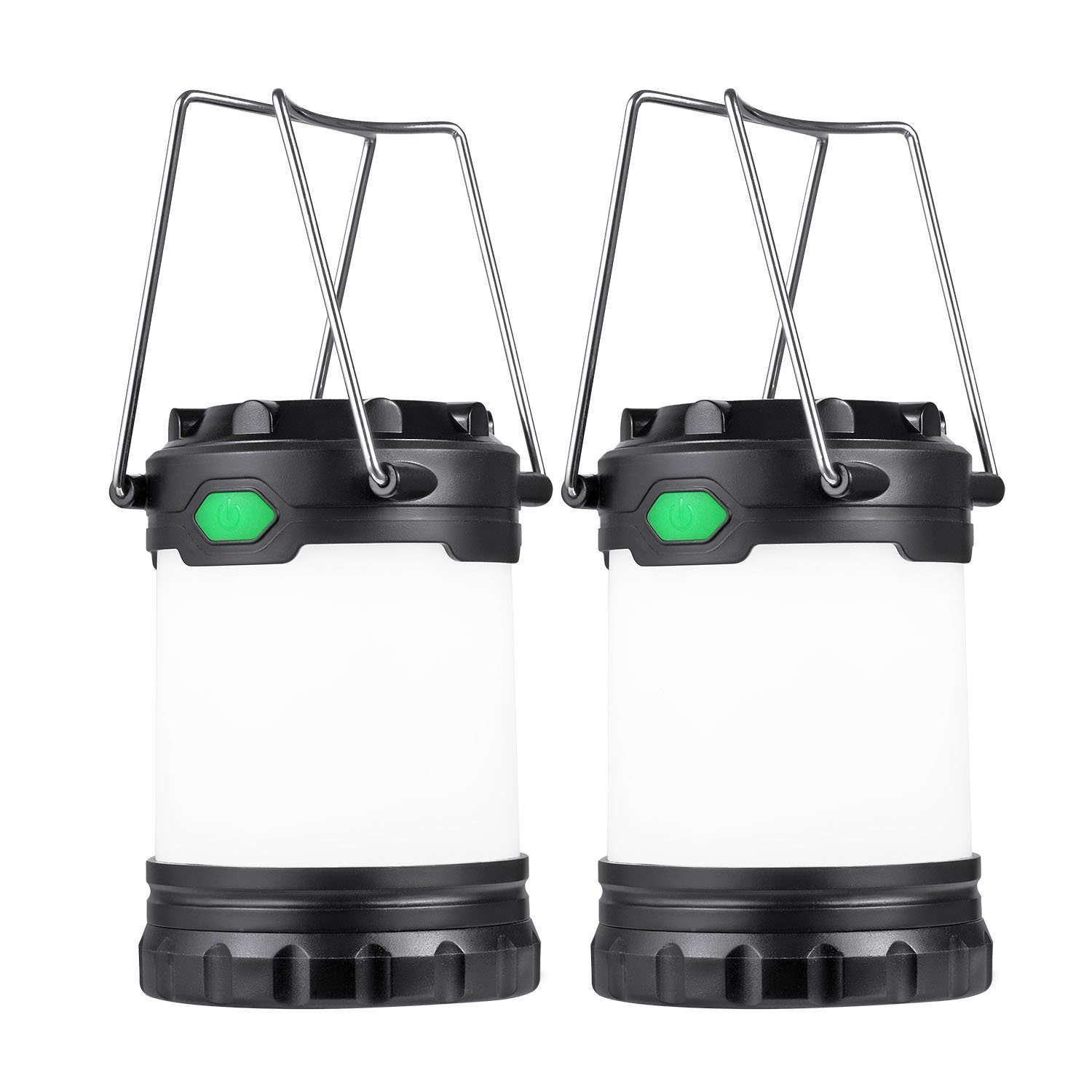 Hillmax 2 Pack Camping Lantern with 3 LED Modes White Light,Warm Light and Mixture Portable Outdoor Light Operated by AAA or AA Batteries for Camping, Fishing and Emergency(Battery Included)