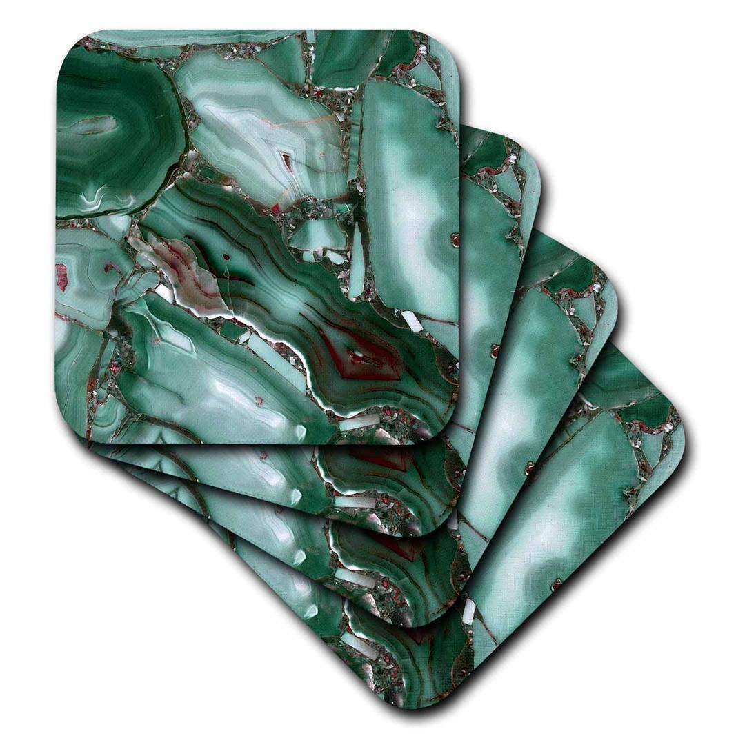 3drose Uta Naumann Faux Glitterパターン – 大理石のアートプリントLuxuryグリーン瑪瑙宝石ミネラルマラカイトクォーツ – コースター set-of-8-Soft グリーン cst_275052_2 set-of-8-Soft  B07BFLGSGF