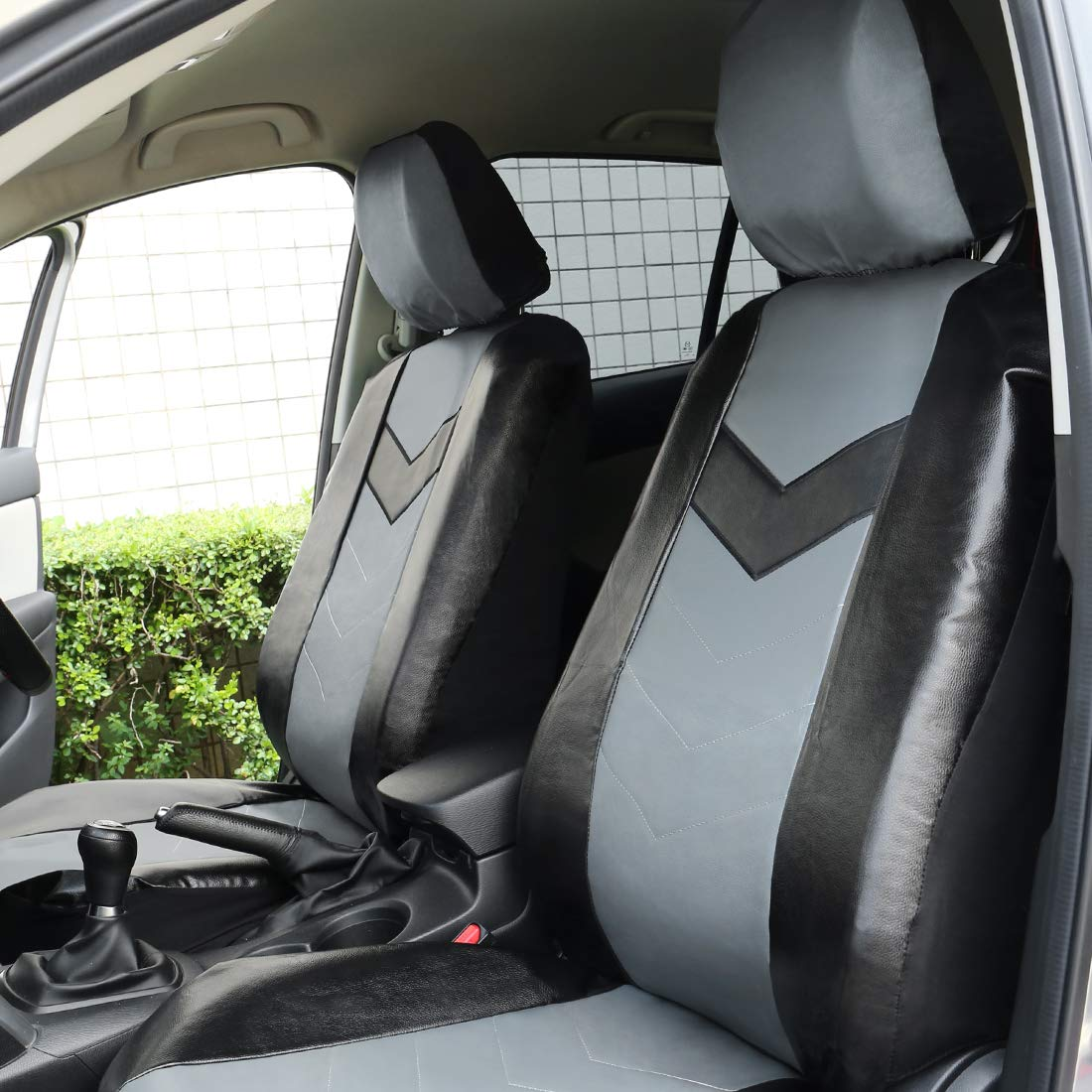 uxcell Gray Black Faux Leather Car Seat Cover Headrests Steering Wheel Cover Full Set a18042700ux0180