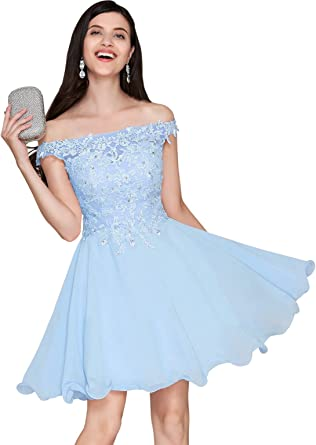 Womens A Line V Neck Off The Shoulder Lace Bodice Chiffon Homecoming Dress Short Evening Party Gown