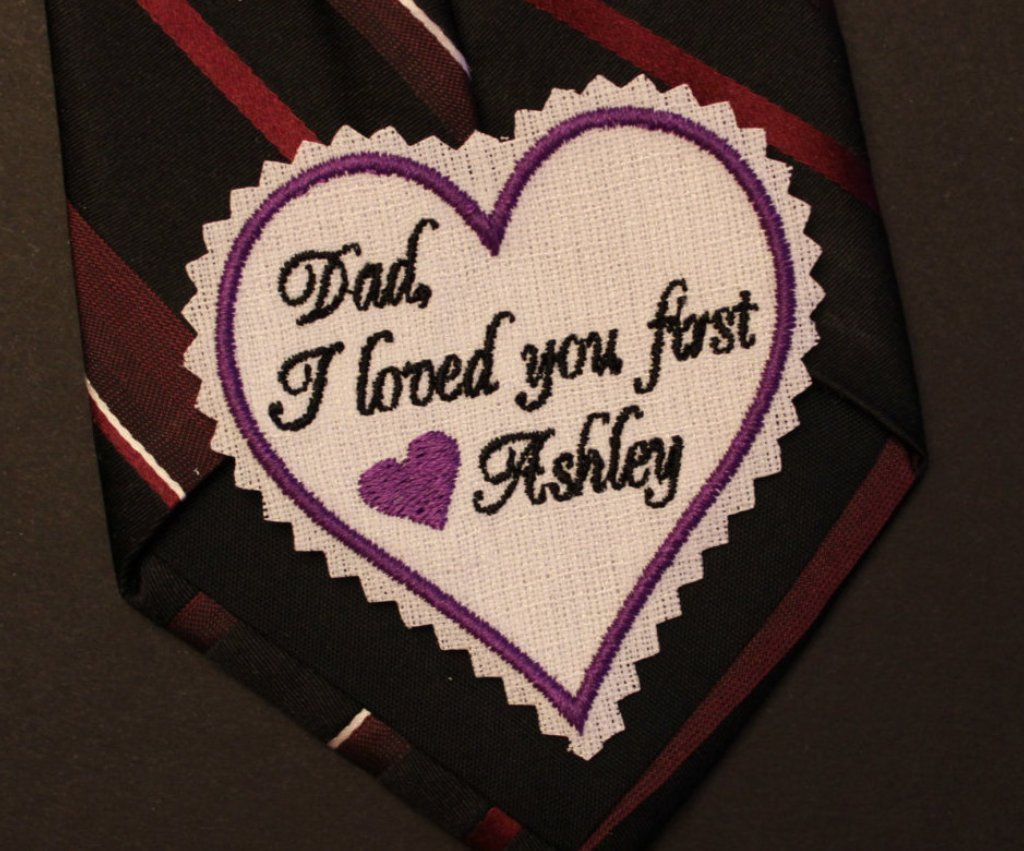 Dad I loved you first wedding heart Tie Patch, tie label, 3