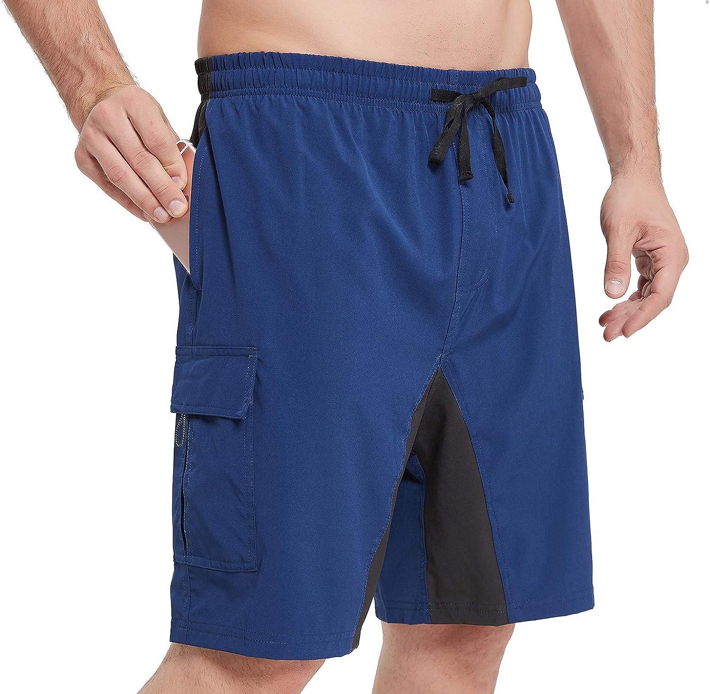 Priessei Mens Mountain Bike Shorts Lightweight MTB Cycling Shorts Loose-Fit Padded
