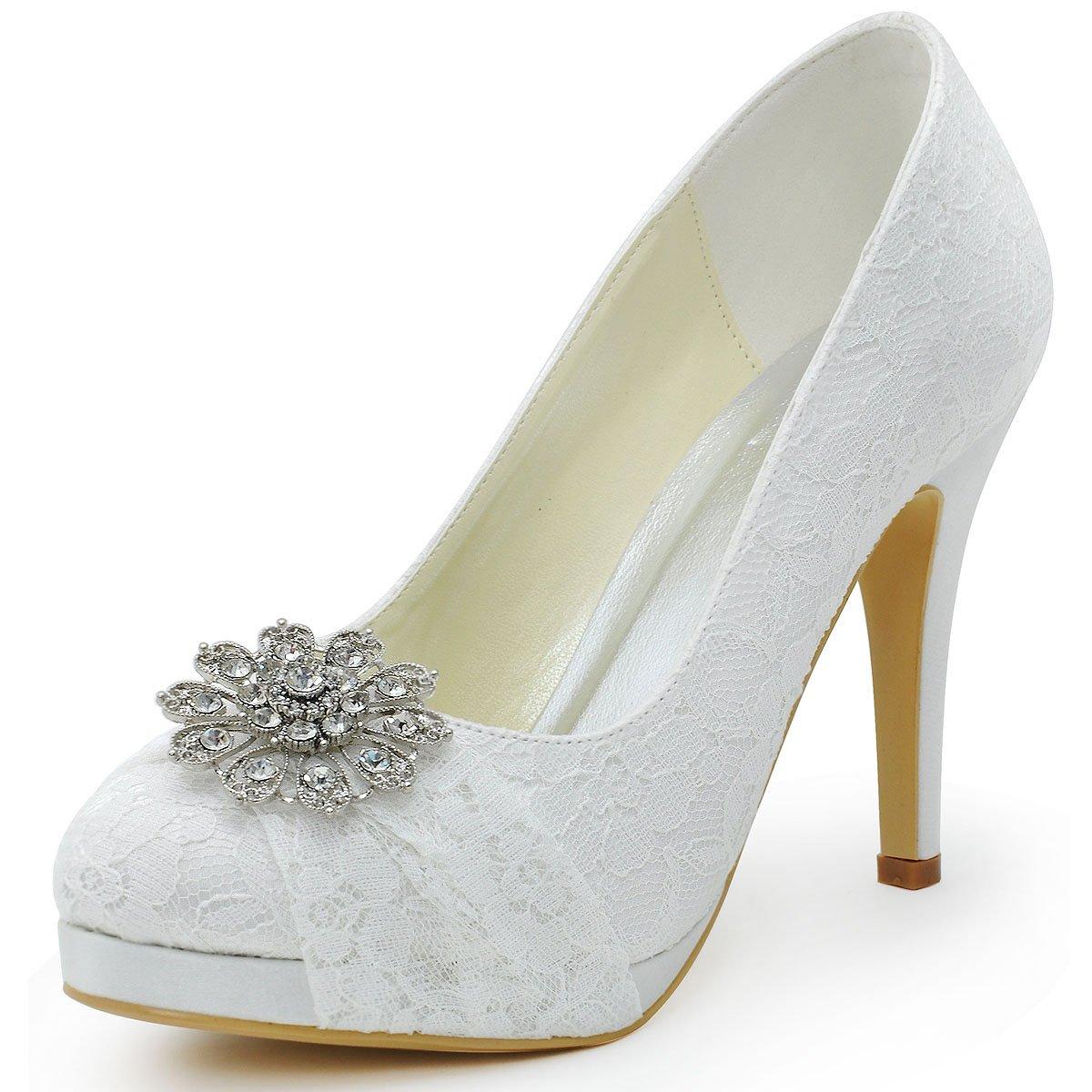 Nice Amazon.com   ElegantPark HC1413P Women Pumps Closed Toe Platform High Heel  Buckle Lace Wedding Bridal Shoes   Pumps Design Inspirations