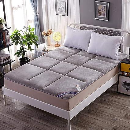 099201b07cf30 V-mix Floor Futon Mattress Japanese King Sleeping Pad Tatami Mat Bed Roll  Up Mattress Flannel Topper Cover (Gray