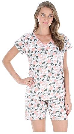 Sleepyheads Pyjama Imprimé pour Femme Vêtement de Nuit 100% Coton Ensemble  Short et T- 76889f11f85