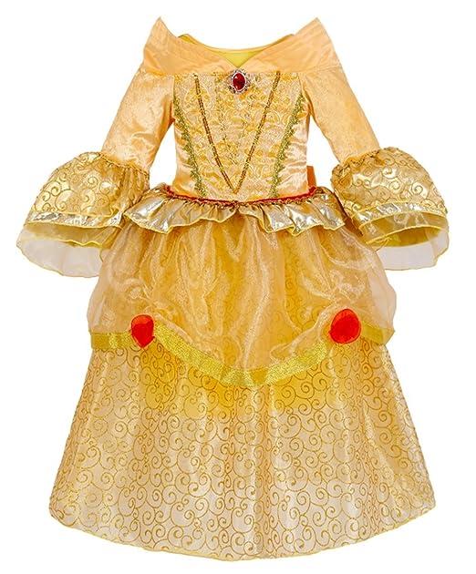 GenialES® Disfraz Vestido de Princesa Amarillo Largo Lindo de Niñas para Cumpleaños Fiesta Cosplay Talla