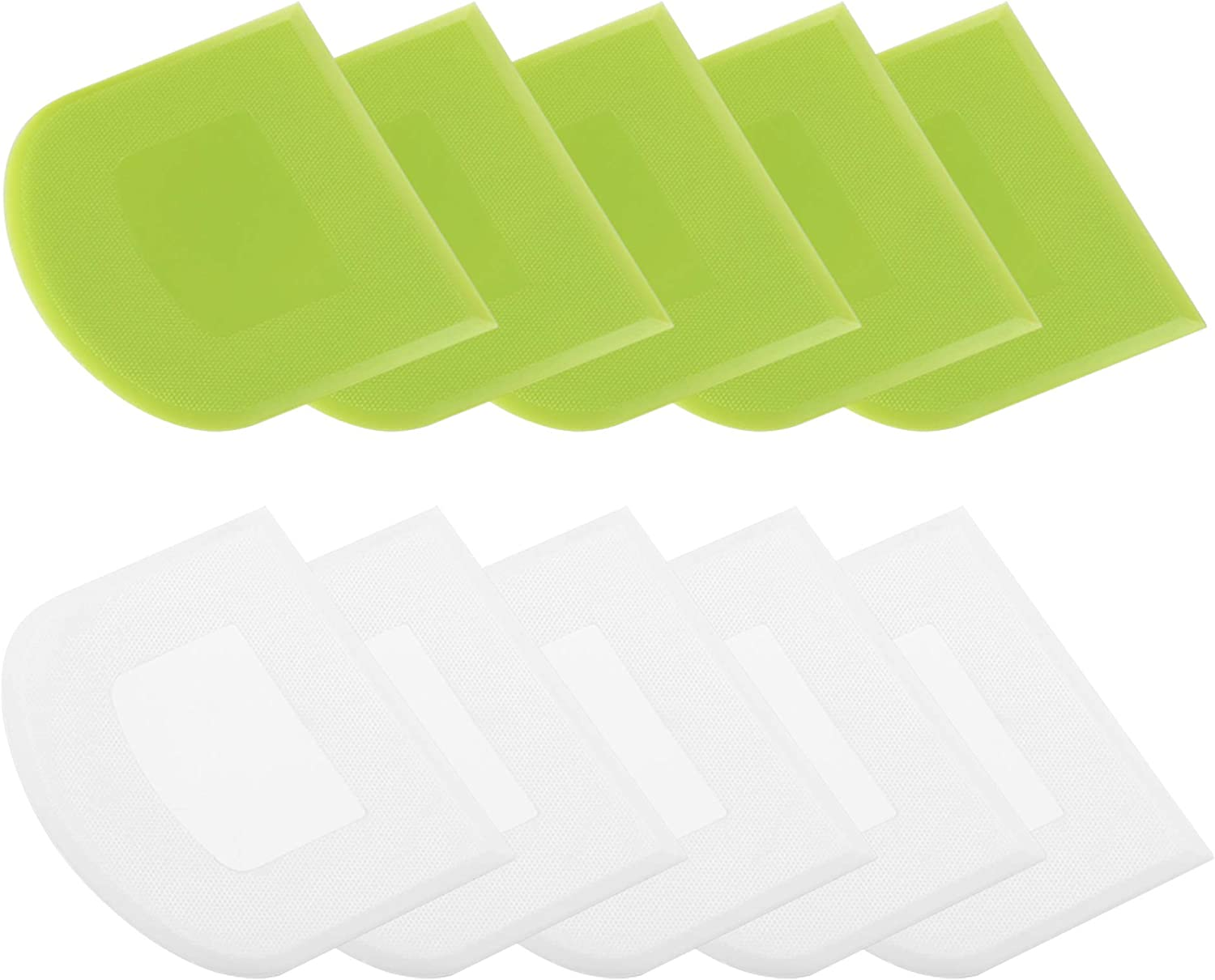 10 Pcs Durable Flexible Smooth Dough & Bowl Scraper With Food-safe & Eco-friendly PE Plastic for Multipurpose of Scraping Shoveling Cutting Cake Dough Fondant Chocolate