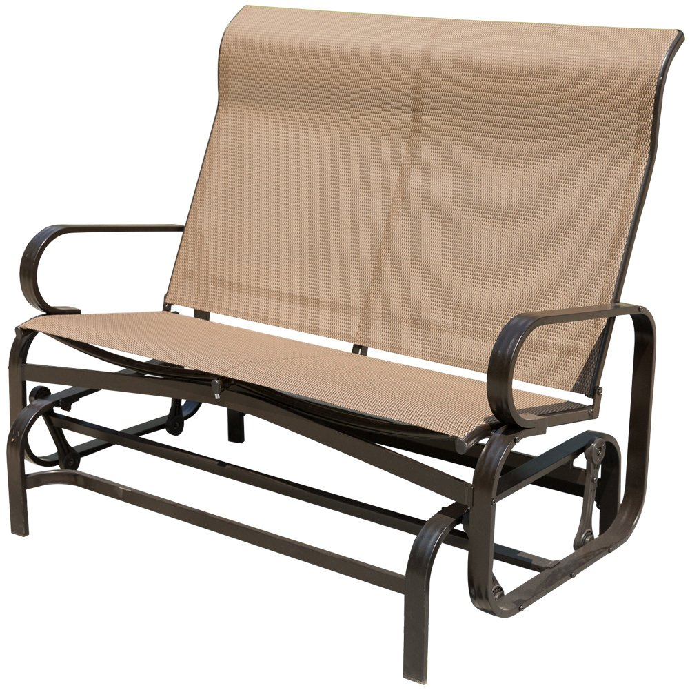 PatioPost Outdoor Swing Glider Bench Aluminum Chair for 2 Person Garden Rocking Loveseat - Mocha by PatioPost