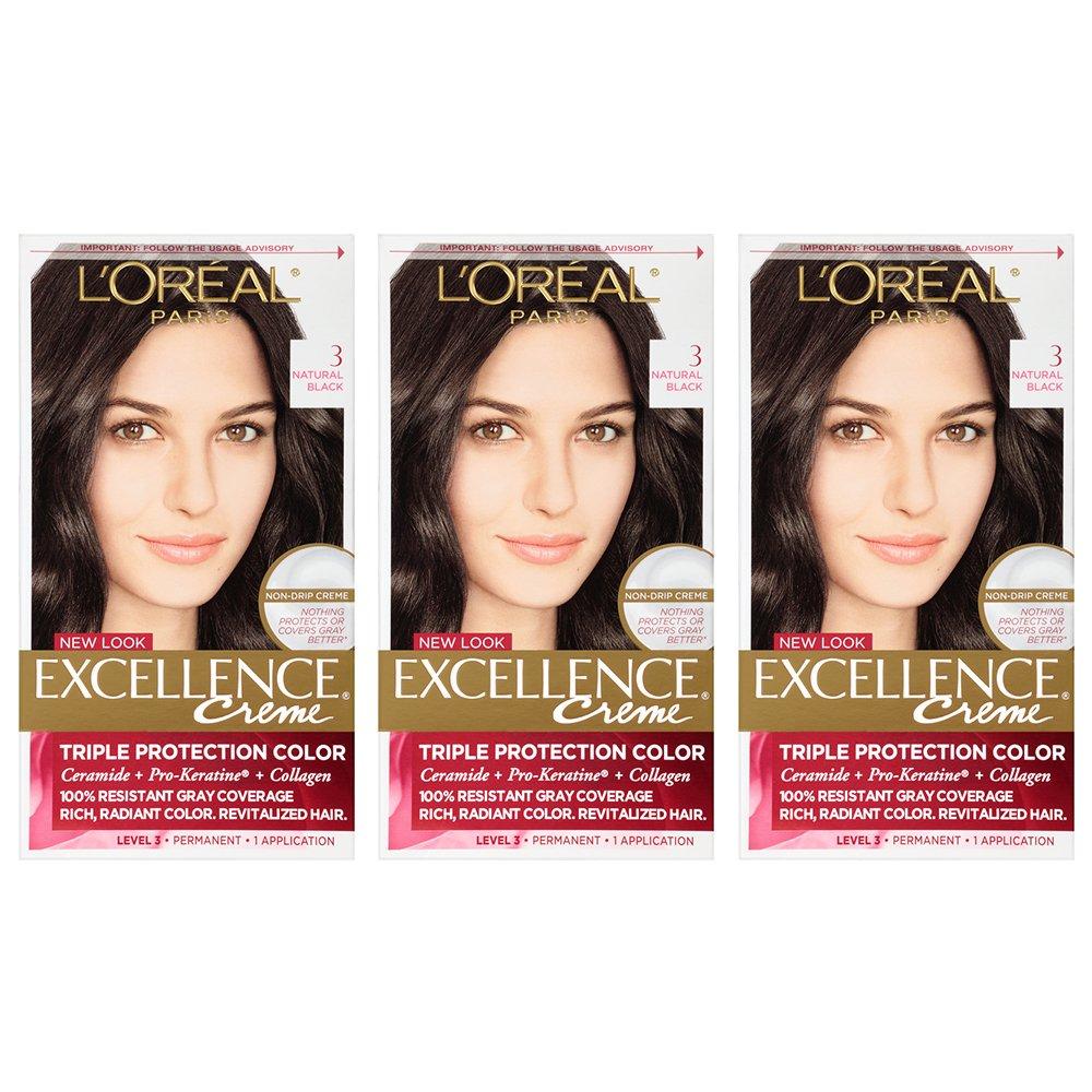 L'Oreal Paris Excellence Creme Hair Color, 3 Natural Black