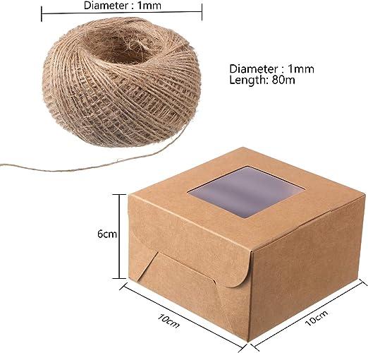 Amazon.com: 50 cajas de panadería marrón y cuerda de 262.5 ...