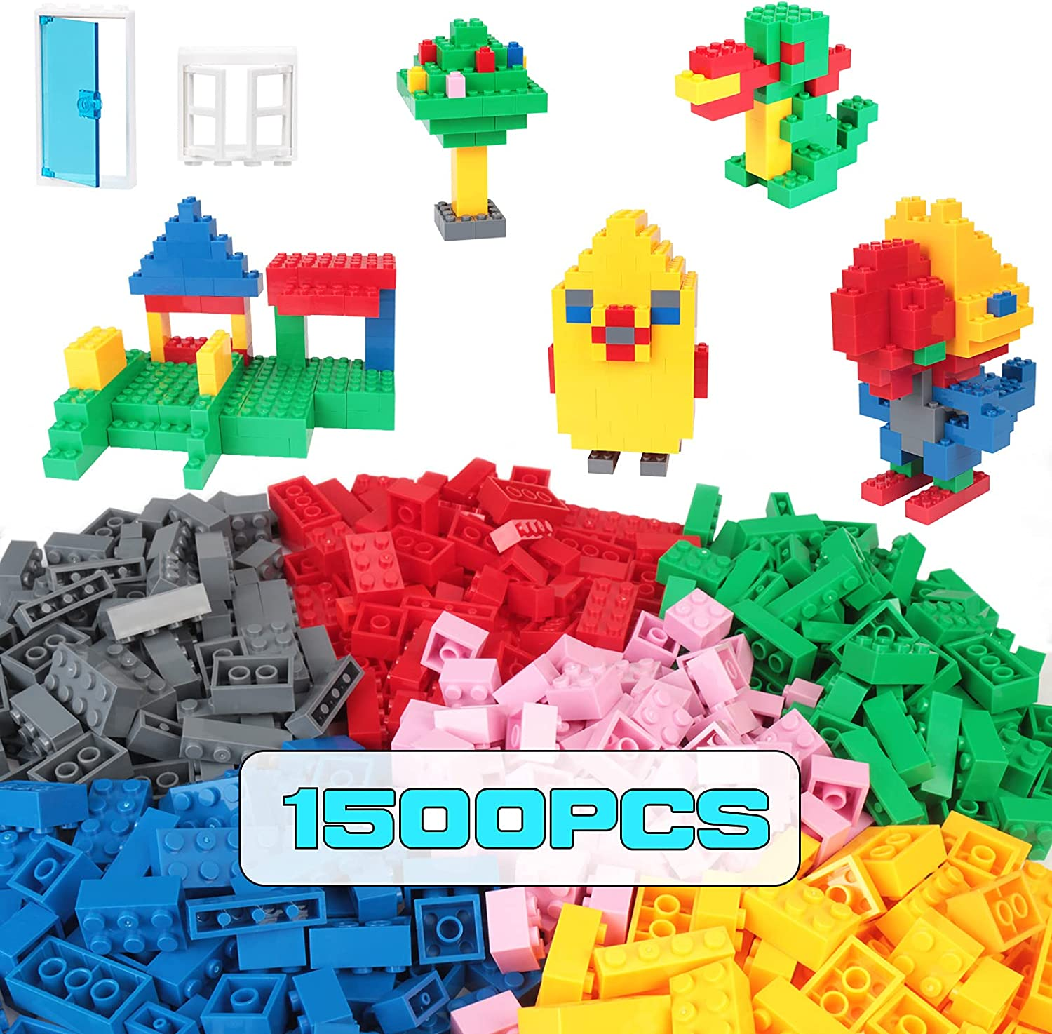 Naivtu 1500 Pcs Building Bricks for Kids, Classic Building Blocks in 11 Colors with 6Pcs Window and Door, Compatible with All Major Brands for Ages 3 4 5 6 7 8 9 10 Year Old Kids