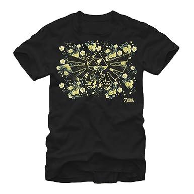 59cf383fc Nintendo Men's Legend of Zelda Hyrule Flowers T-Shirt Black   Amazon.com