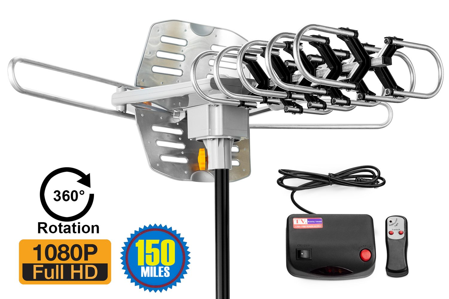ViewTV 2018 VERSION Outdoor Amplified Digital HDTV Antenna - 150 Mile Range - Motorized 360° Rotation - 40FT Coax Cable - Wireless Remote Control - UHF/VHF 4K 1080P Channels by ViewTV
