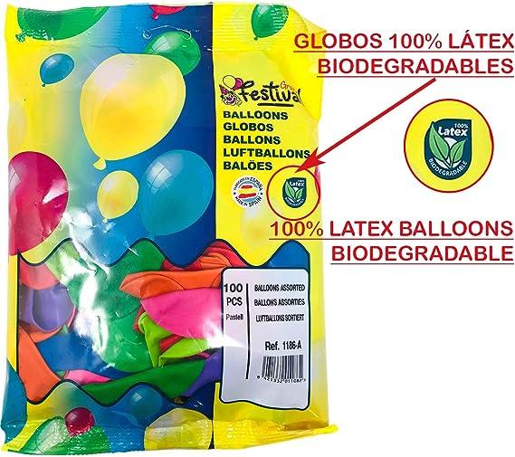 Globos Festival 100 unidades Globos de látex Colores Surtidos 20cm ...