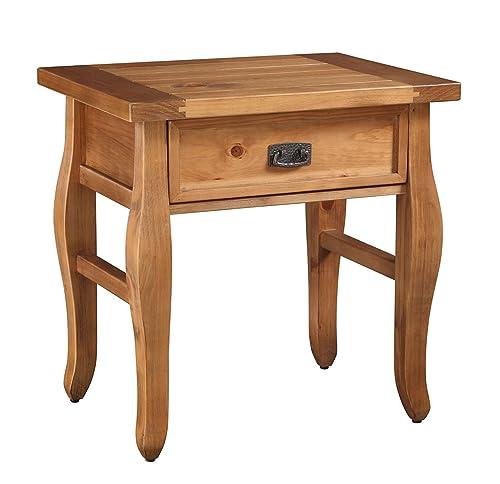 Linon Antique Finish Santa Fe End Table, Brown