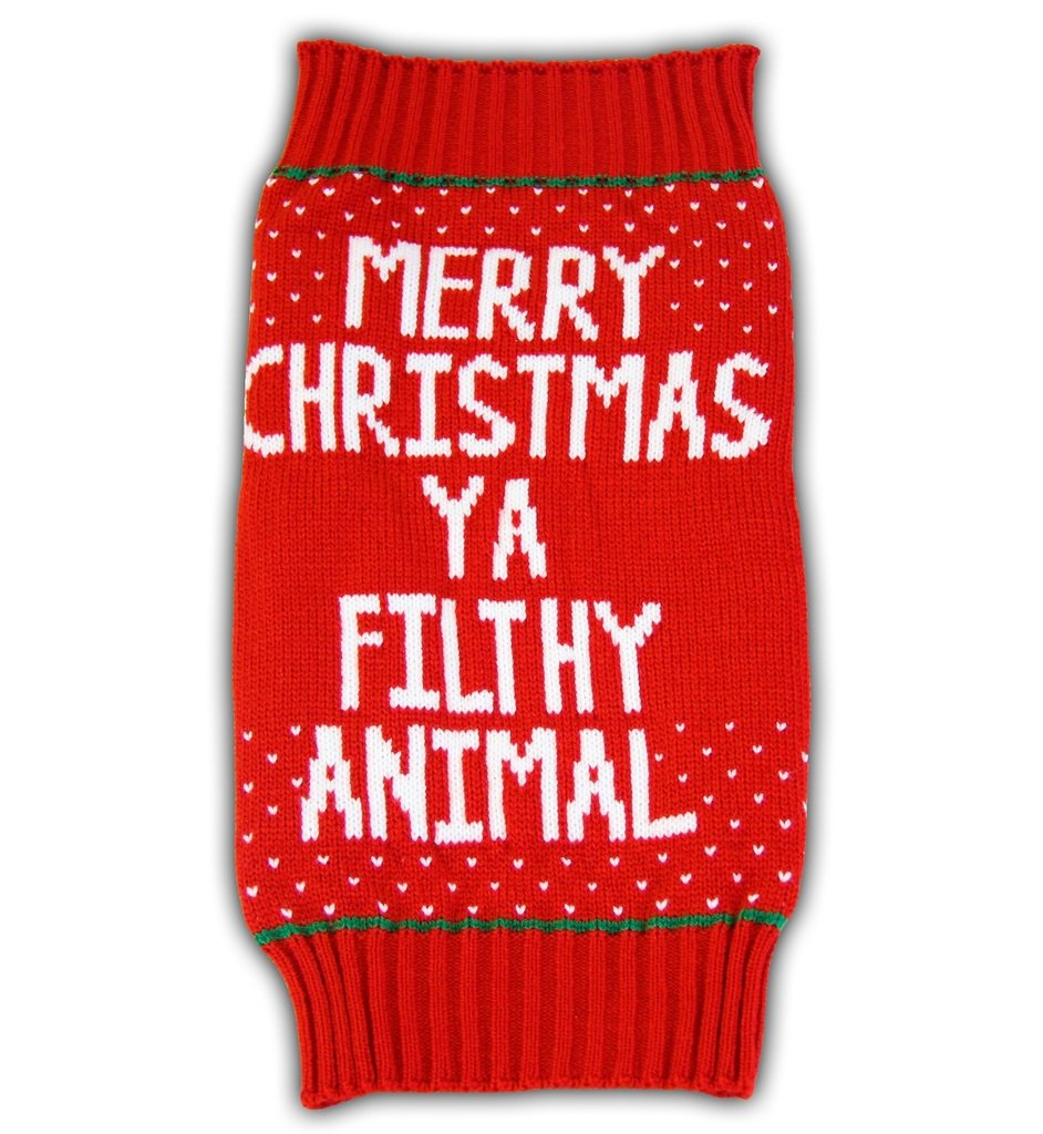 Small Home Alone Merry Christmas Ya Filthy Animal Red Ugly Sweater for Pets (Small)