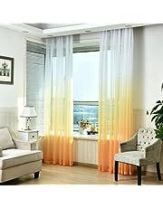 Ouneed 1Pc 100Wx270Lcm Moda gradiente pura puerta de tul cortina de ventana tratamiento voile drapeado bufanda cenefas