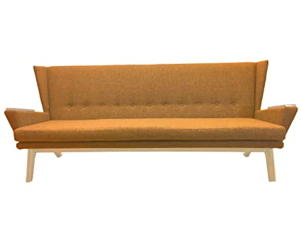 Handcrafted Designer Yellow Gold Mid Century Modern Sofa Couch Long Low  Davenport MCM Bench