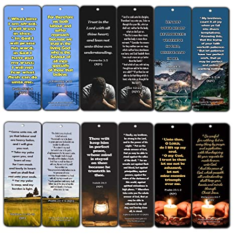 KJV Religious Bookmarks - Bible Verses About Trusting The Lord During  Crisis (12 Pack) - Collection of Bible Verses About God's Sustenance During
