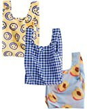 BAGGU Small Reusable Shopping Bag 3 Pack - Happy Gingham Peach
