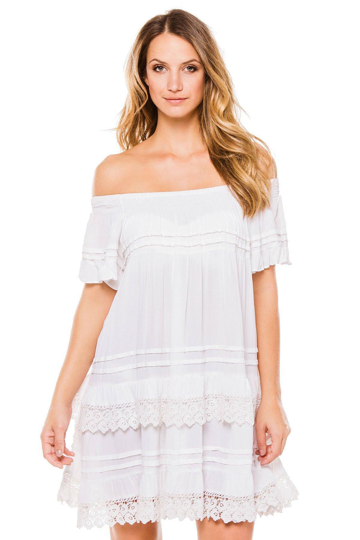 Muche et Muchette Women's Cottons Dress Swim Cover Up White One