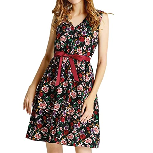 f3b2674ff1 Twinsmall Women s Summer Sleeveless Sundress Beach Floral Tank Mini Dress  (S