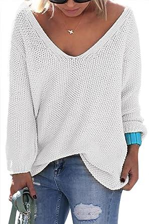 19754abbe5bb YOINS Femme Pull Col V Sweater Tricoté Chandail Lâche Casual Haut Manches  Longues Sweatshirt Loose Top