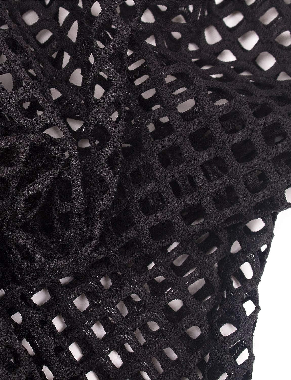 VWIWV Womens See Through Fishnet 2 Pieces Bikini Cover Up Outfit Romper Jumpsuit Bathing Suit Black