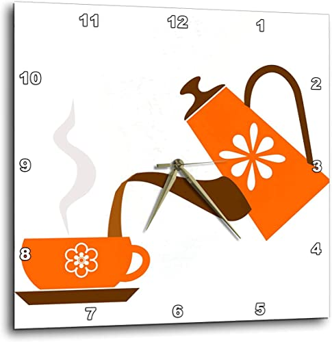 3dRose DPP_165478_3 Pouring Coffee in Orange Artwork Wall Clock, 15 x 15