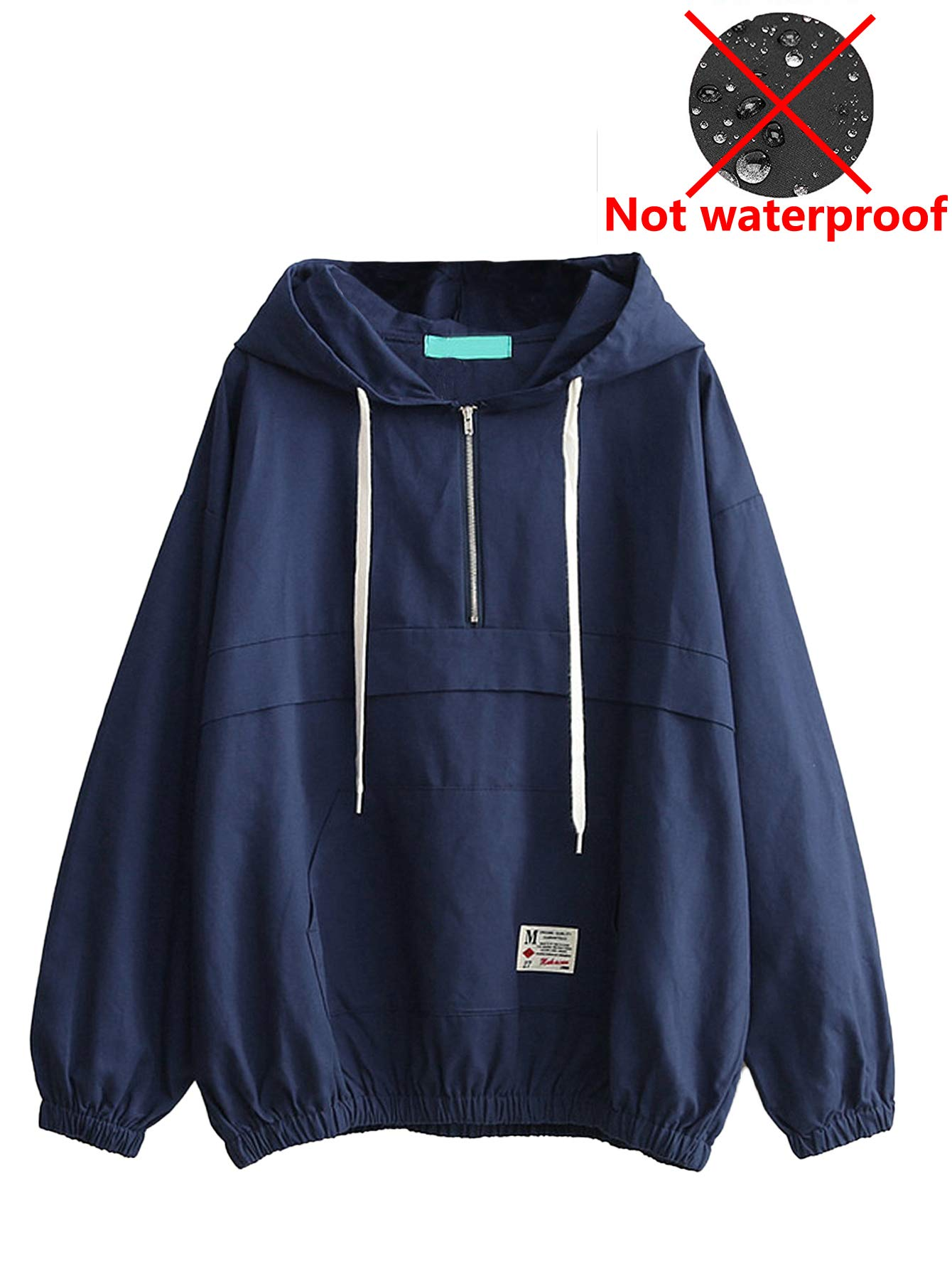 Romwe Women's Lightweight Kangaroo Pocket Anorak Sports Jacket Drawstring Hooded Zip up Windproof Windbreaker Navy S by Romwe (Image #1)