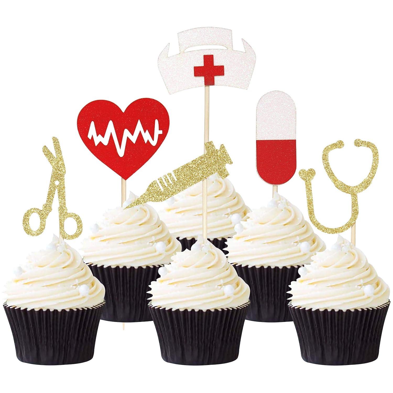 Pack of 24 Nursing Cupcake Toppers Nurse Graduation Cupcake Picks Glitter Medical Rn Themed Cake Picks Nursing Themed Party Decorations Supplies
