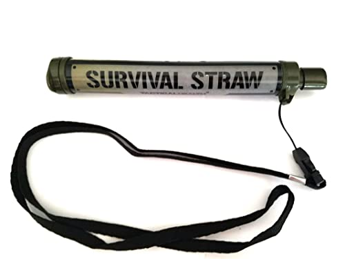 Tactical Health Survival Straw - Emergency Personal Water Filtration & Purification Straw - .01 Micron Absolute Hollow Fiber Membrane - 530 Gallon Capacity (Black Lanyard) FREE EMERGENCY FIRESTARTER