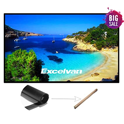 Excelvan 120 Inch 16:9 PVC Fabric Portable Indoor Outdoor Projector Screen Rolling High Color Reduction Theater Screen for Home Cinema Movie, Education Office Presentations