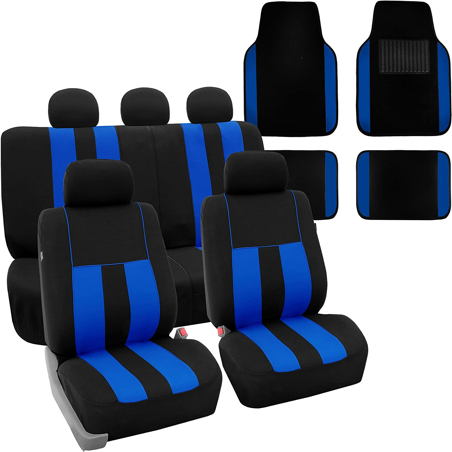 FH Group FH-FB036115 + F14407 Combo Set: Striking Striped Seat Covers with Premium Carpet Floor Mats Blue/Black Color- Fit Most Car, Truck, SUV, or Van