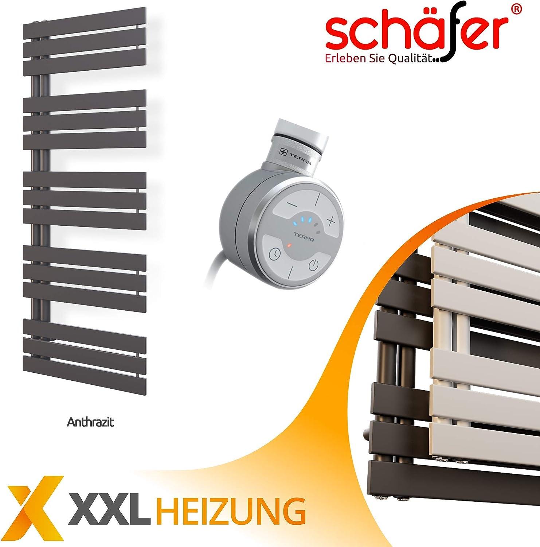 Heizk/örper mit versetztem Mittelanschluss Design Badheizk/örper Paneel mit Anschluss links oder rechts 307 Watt nach EN442 1000 x 500, Anthrazit