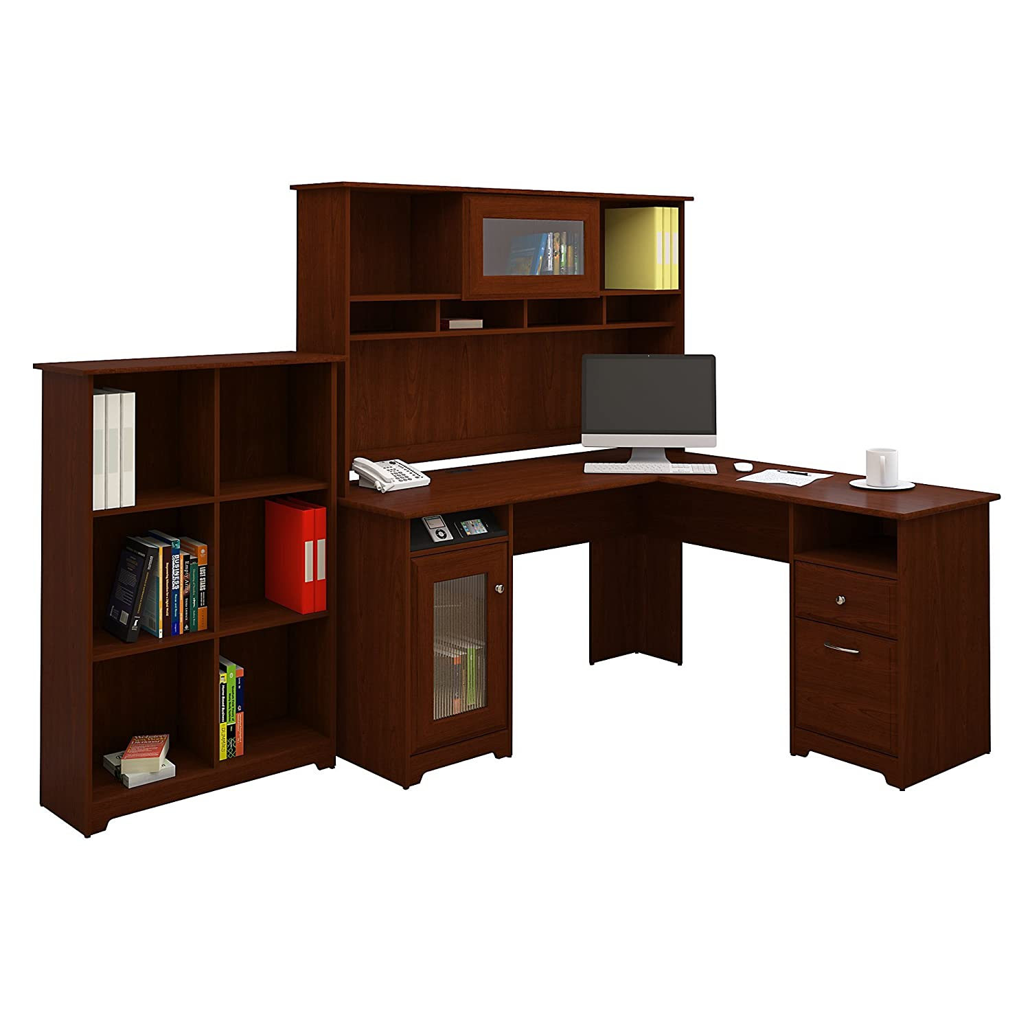 amazoncom cabot l shaped desk with hutch and 6 cube bookcase kitchen u0026 dining