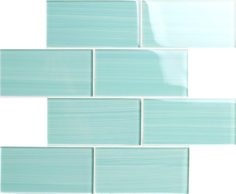 - Glass Subway Backsplash Tile Bambu Hand Painted Series For Kitchen
