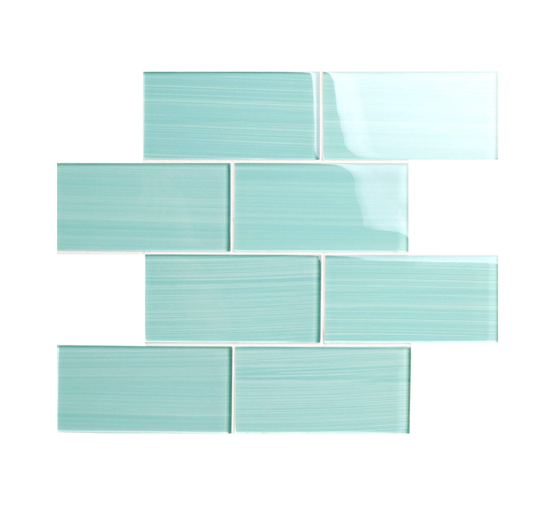 Glass Subway Backsplash Tile Bambu Hand Painted Series for Kitchen and Bathroom by WS Tiles - WST-06CH (3'' x 6'' Mosaic 5 SqFt, Light Teal) by WS Tiles