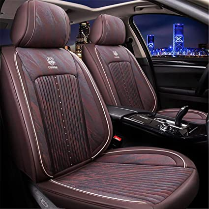 Red ELE TEC Full Set Leather Car Seat Covers Adjustable Protector Auto Seat Cushions with Pillows Universal Fit 5 Seat Car