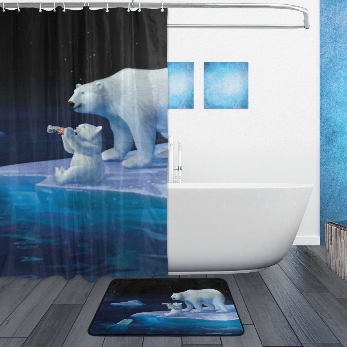Amazon.com: YOHHOY Set of 2 60 X 72 Inches Shower Curtain and Mat ...