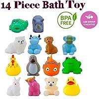 Storio Chu Chu Bath Toys for Baby Non-Toxic Toddler Set Multi Color - 14 Pcs