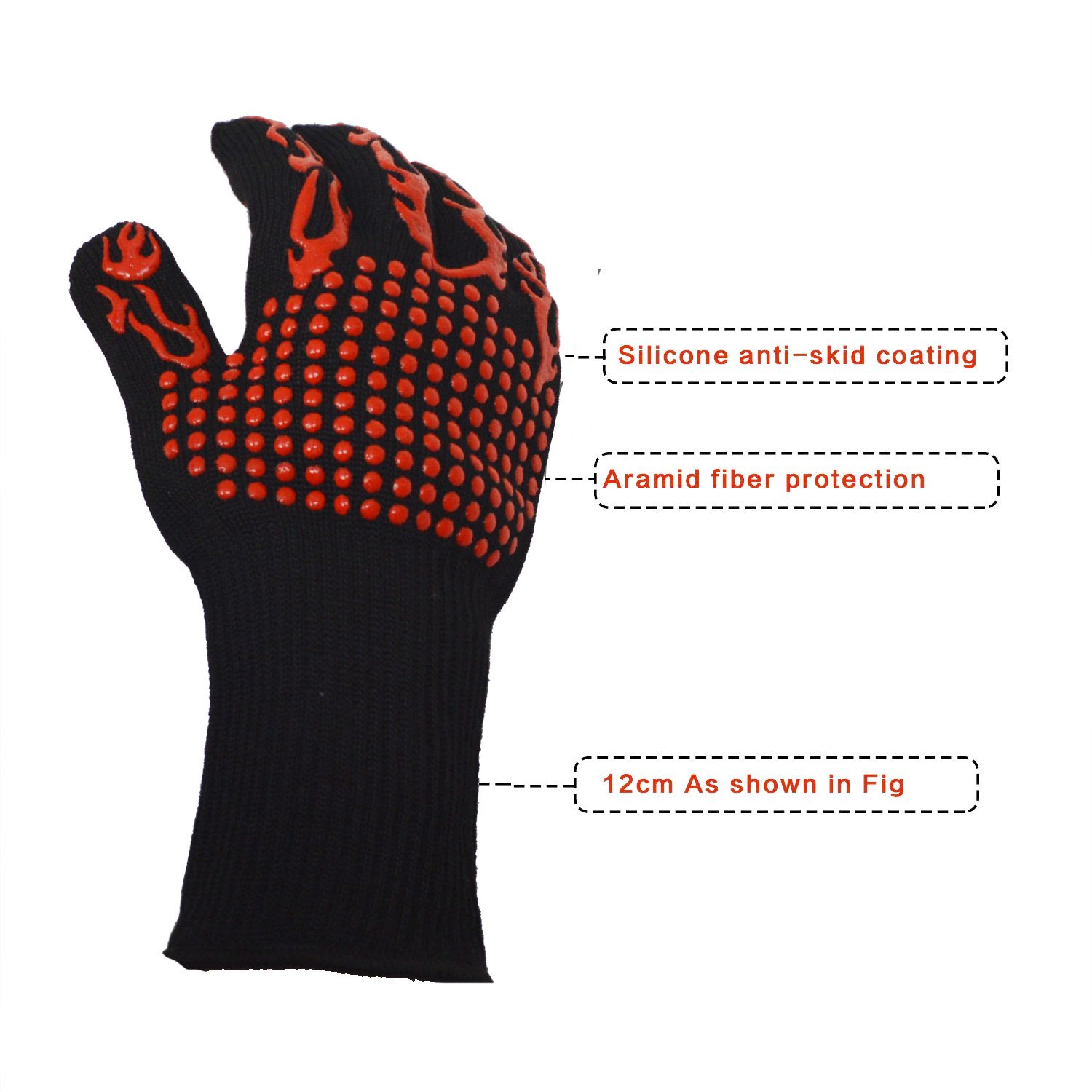 Extreme heat resistant protection, BBQ Gloves Oven Mitt,Hand Protection From Grilling,Kitchen, Fireplace, Grilling, Double Layers Silicone CoatingHeat And Flame Resistant Up To 932°F thick and durable