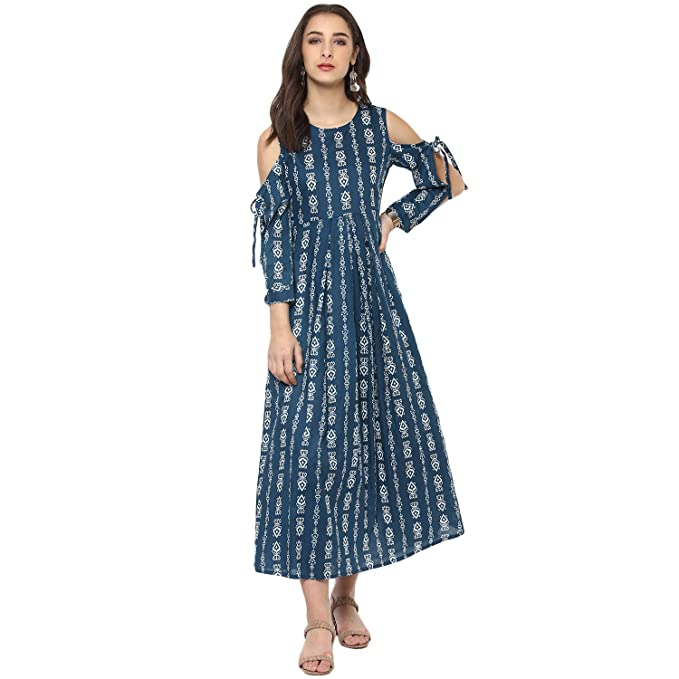 c6f3dc89ee8 Vedic Grey Cotton Regular Fit Printed Kurti for Women  Amazon.in  Clothing    Accessories