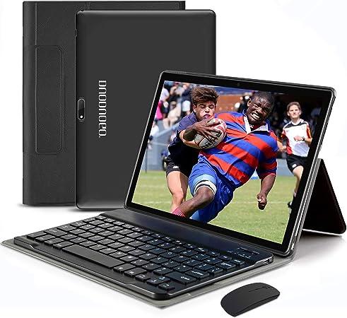 4G WiFi Tablet 10.1 Pulgadas, 2 in 1 Tablet con Teclado 4GB RAM+ 64GB ROM /128GB Escalables Android Tableta con Quad-Core 8MP 8000mAh Dual SIM Google ...