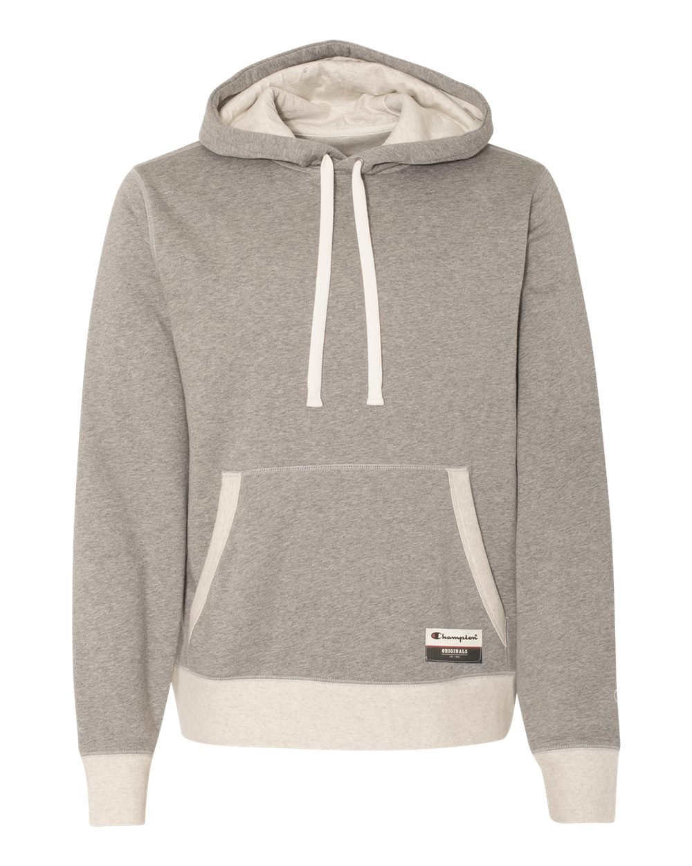Champion Men's Authentic Originals Sueded Fleece Pullover Hoodie, Oxford Gray/Oatmeal Heather, XXX-Large