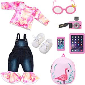 Ecore Fun 18 Inch Girl Doll Accessories with Pink Cowboy Set + Glasses + Toy Camera + Doll Backpack + Mobile Phone + iPAD + Shoes(18 Inch Doll Accessories and Clothing)